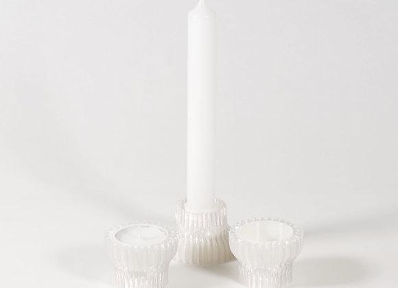 Double Candle holder set van 3