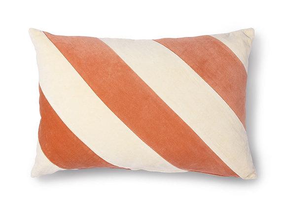 Striped cushion velvet peach/cream (40x60)