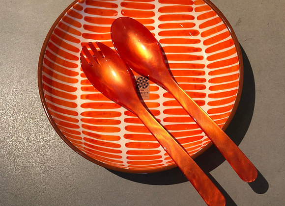 Large Bowl Stripe Pattern & Salad Spoons