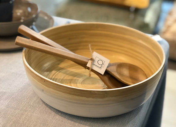 Bamboo Reverse Fruit Bowl + Bamboo Spoons