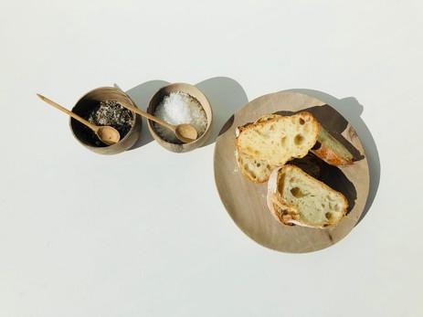 Salt & Pepper Wooden Bowls & Board