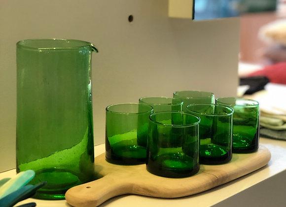 Set Glazen Groen Klein + Carafe Groen