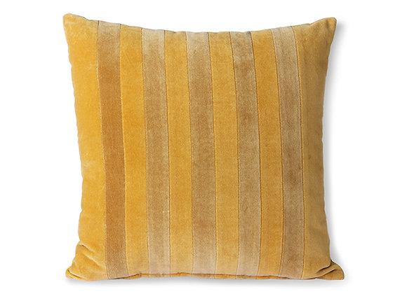 Striped velvet cushion ochre/gold (45x45)