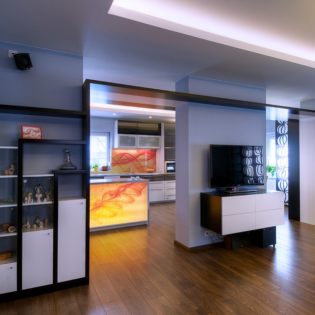 podsvietená abstraktná fotografia kuchynského pultu je farebnou dominantou celého otvoreného denného priestoru rodinného domu