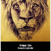 Esquisse lion au stylo bille