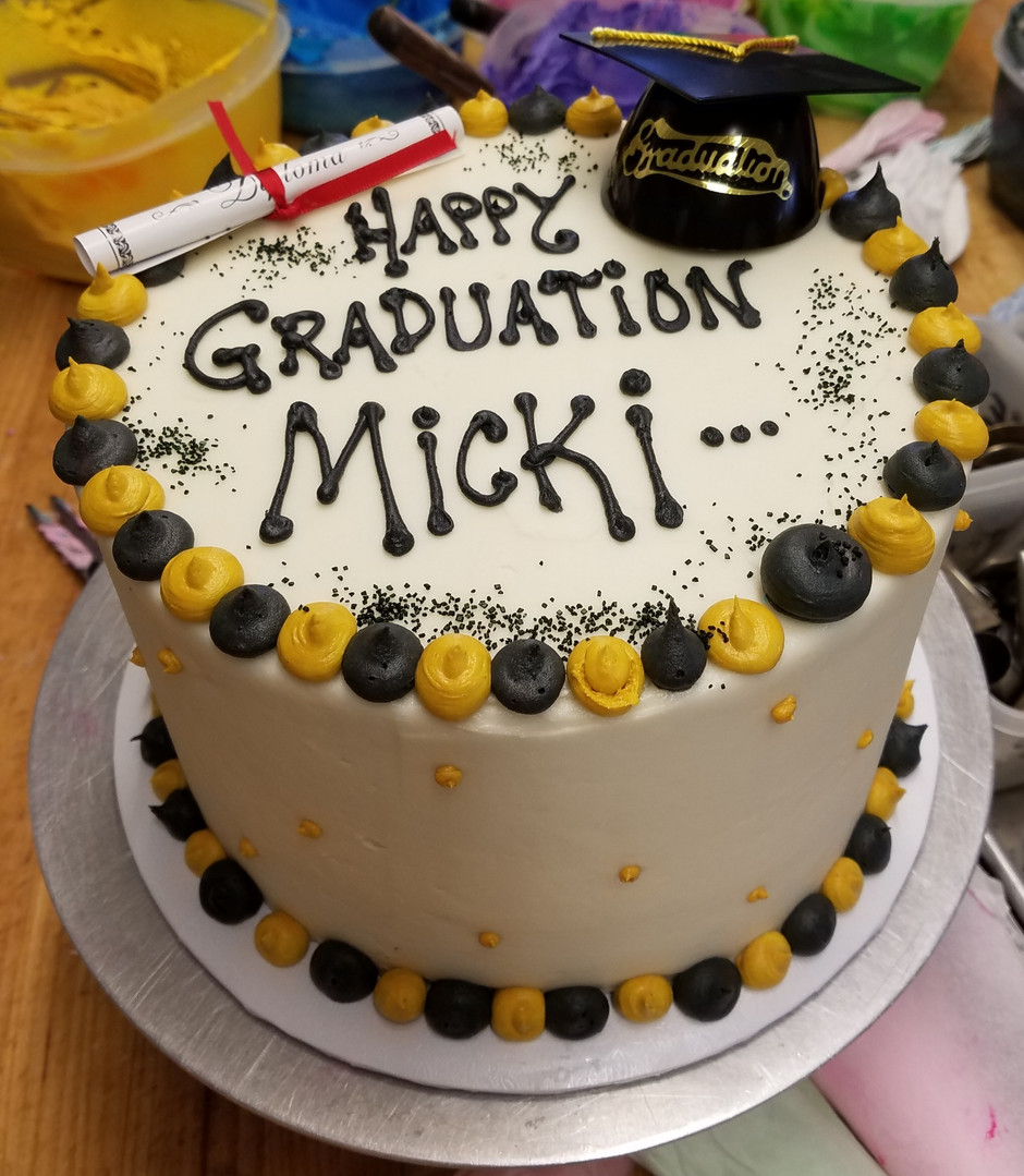 Grad cake, add school logo for $10