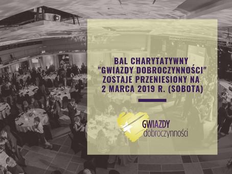 """Zmiana terminu Balu Charytatywnego """"Gwiazdy Dobroczynności"""""""