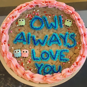 Cookie cake iced with buttercream for border and message.