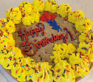 Cookie Cake with border and message in buttercream icing.
