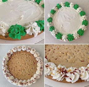 Cookie cakes can be all iced ( for those who love butter cream icing )in white for background and then a message or they can leave the cookie naked with only border and message in the buttercream icing.
