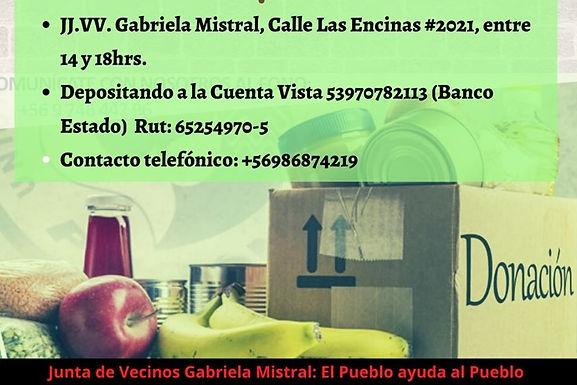 Alimentos solidarios Junta de Vecinos Gabriela Mistral