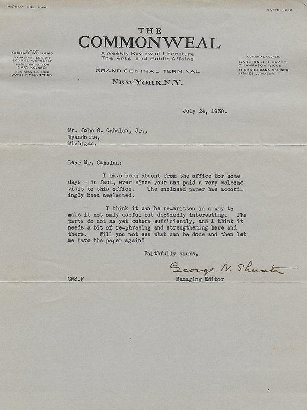 1930-07-24 Commonweal to John C. Cahalan