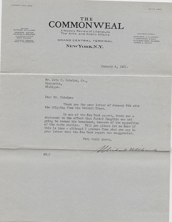 1931-01-08 Commonweal to John C. Cahalan