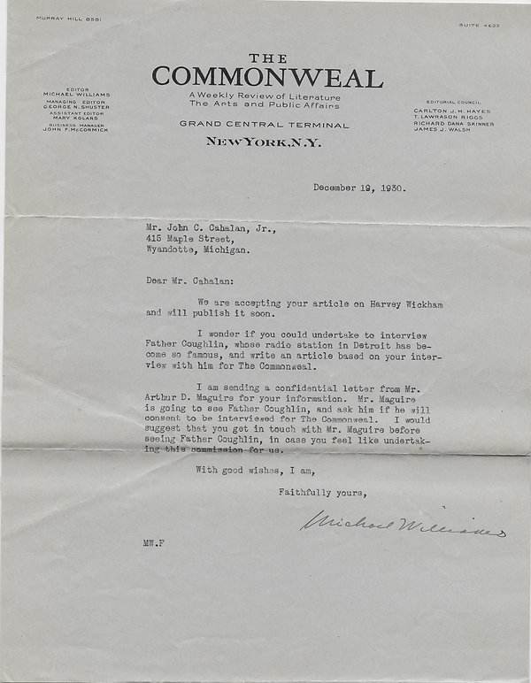 1930-12-19 Commonweal to John C. Cahalan