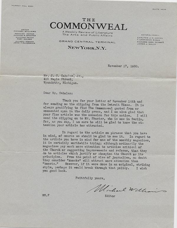 1930-09-17 Commonweal to John C. Cahalan