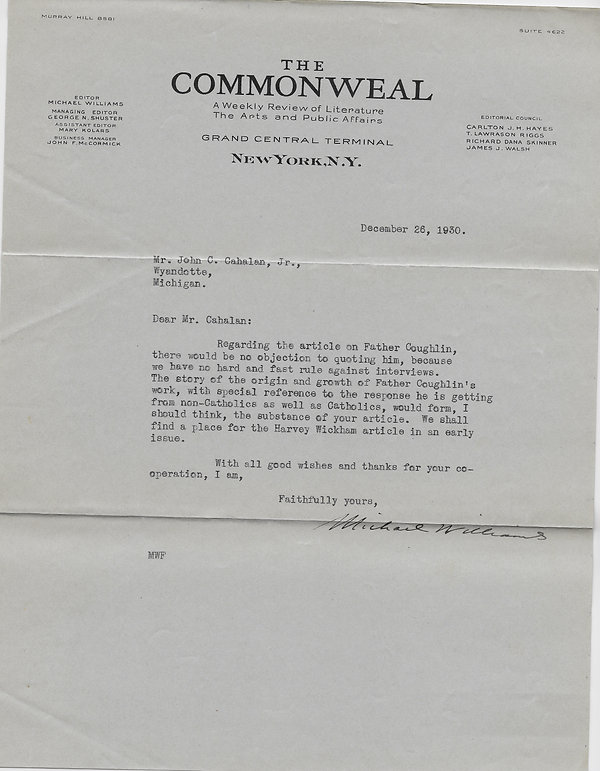 1930-12-26 Commonweal to John C. Cahalan
