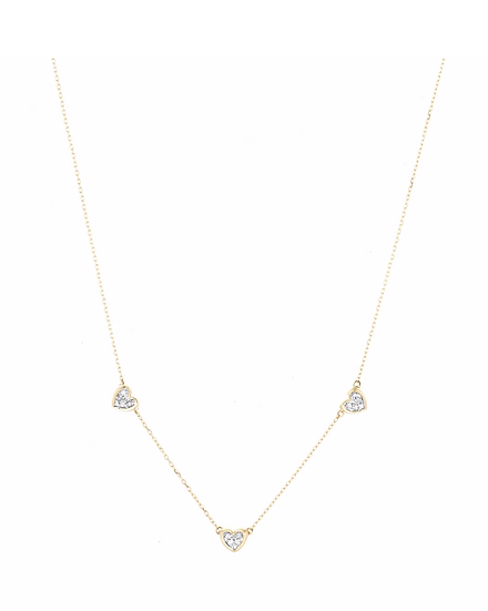 2 Pavé Folded Heart Chain Necklace - Adina Reyter