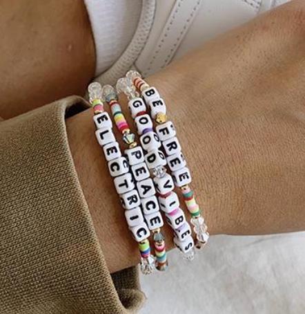 Little Words Project Bracelets - White Letters