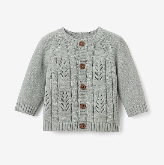 Sage Leaf Pointelle Knit Baby Cardigan