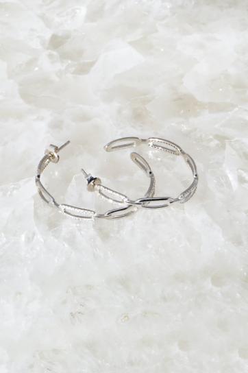 Links Hoops in Sterling Silver