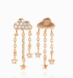 Rose Gold Mixed Clouds Dangle Earrings