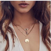 Gemstone Evil Eye Necklace - Labradorite