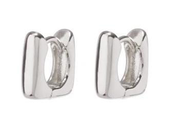 Mini Art Deco Huggies- Silver