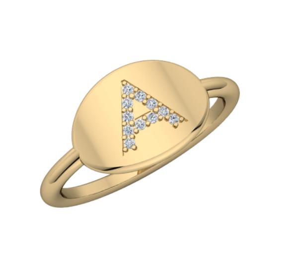 Personalized 14k & Diamond Initial Signet Ring - Maya J Jewelry