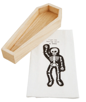 Skeleton Coffin Cracker Dish And Towel Set