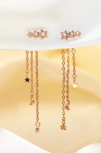 Rose Gold Meteor Shower Dangle Earrings