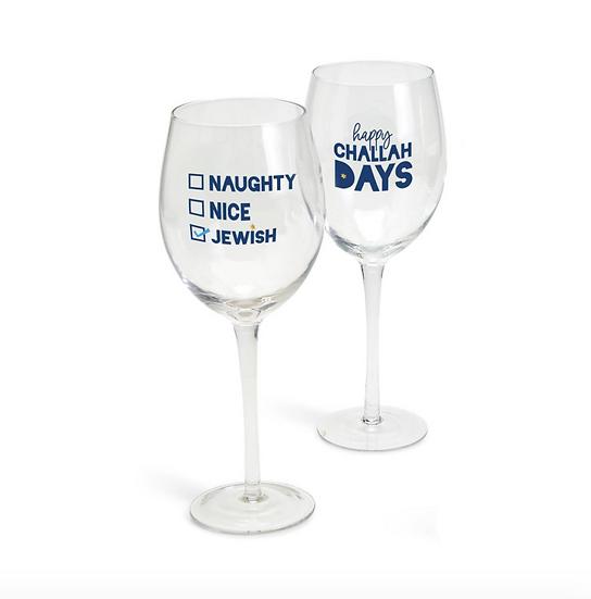 Hanukkah Wine Glass