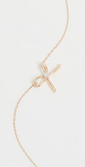 14k Gold Tiny Diamond Bow Necklace - Adina Reyter