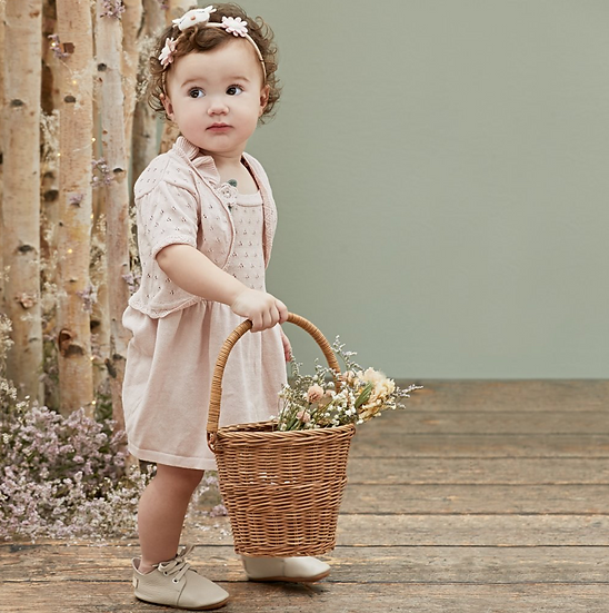 Blush Pointelle Knit Baby Dress & Bolero Set