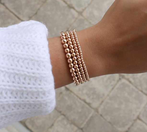 14k Rose Gold Filled Beaded Bracelets