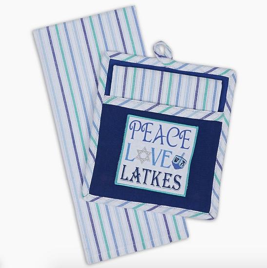 Peace, Love, Latkes Pot Holder Set