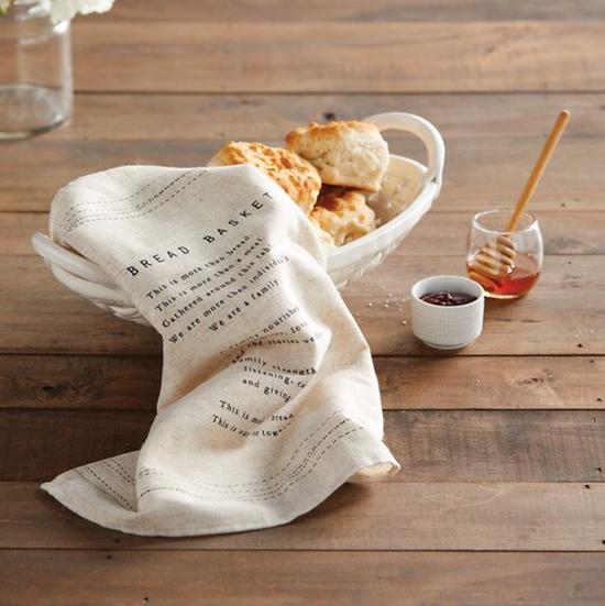 Ceramic Bread Basket with Towel