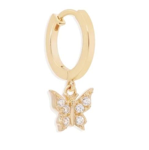 14k Gold Butterfly Huggies