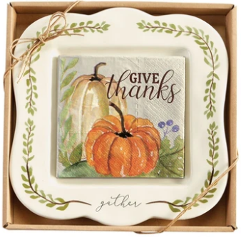 Gather Platter With Give Thanks Napkins