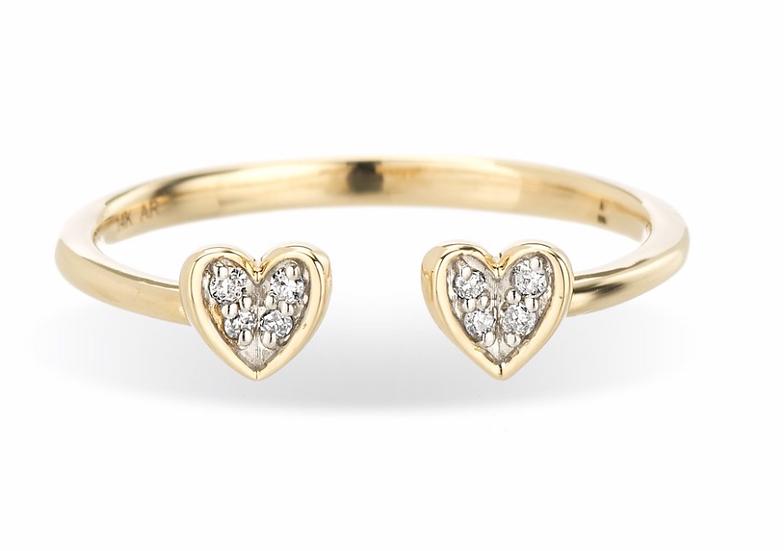 Open Pavé Folded Heart Ring - Adina Reyter