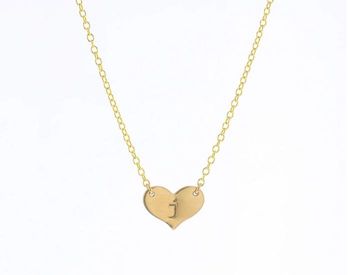 Heart Initial Necklace - Lotus Jewelry Studio