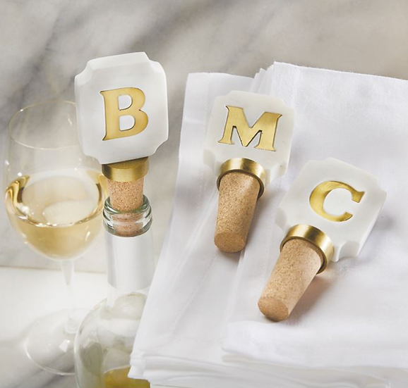 Initial Marble Wine Toppers