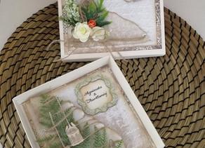 Elegant Green Leaf Wedding Day Card with a box.