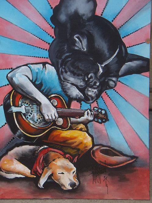 Guitar Pooch & Pup 18x24