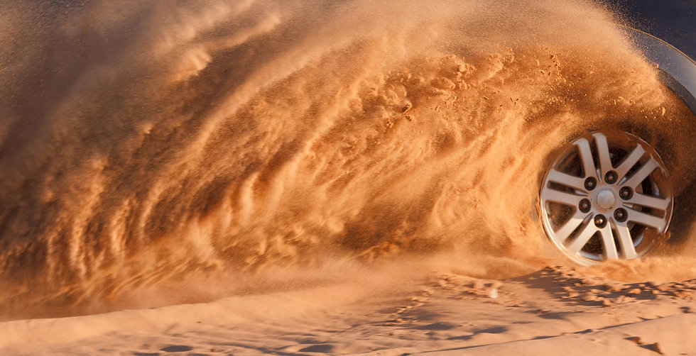 Car drive in desert, auto, sand and spor