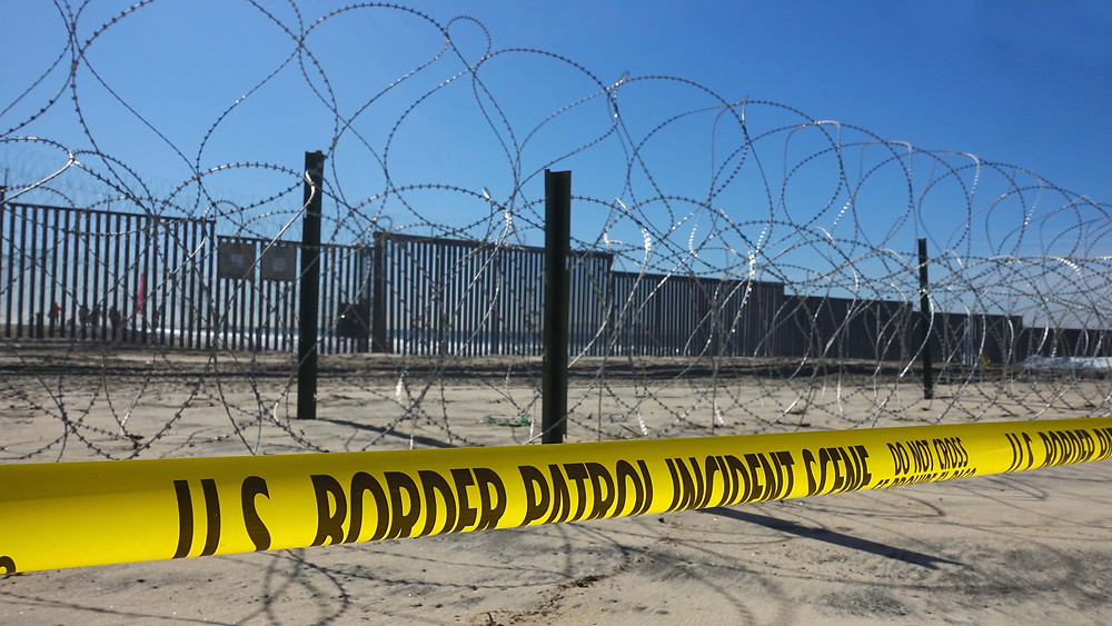 barbed wire at border crossing