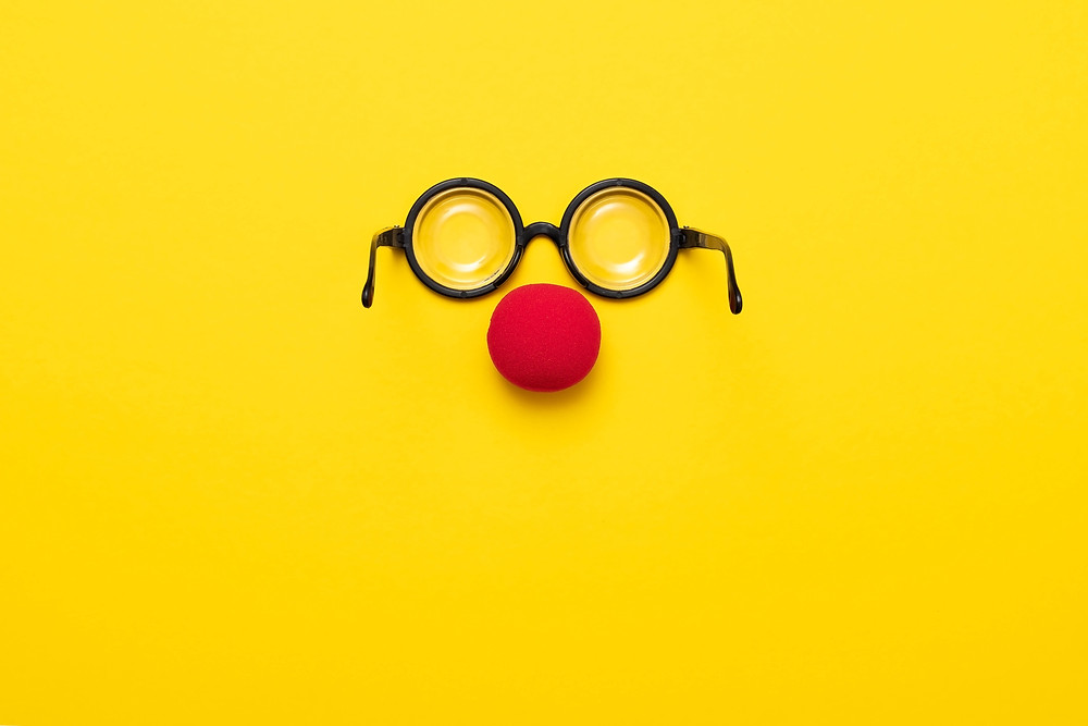 humor - funny glasses and a red nose