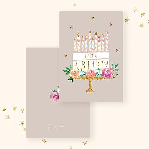 Happy Birthday(Floral Cake)