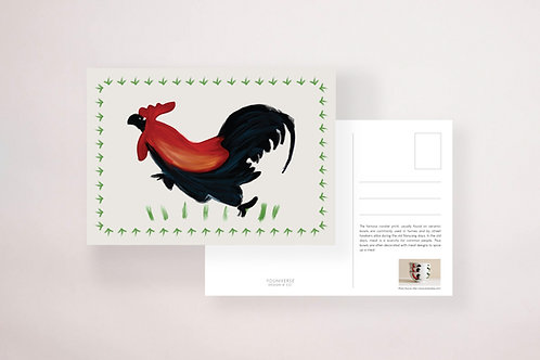 Rooster Bowl Postcard