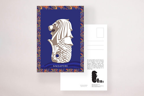 Kebaya Merlion Postcard