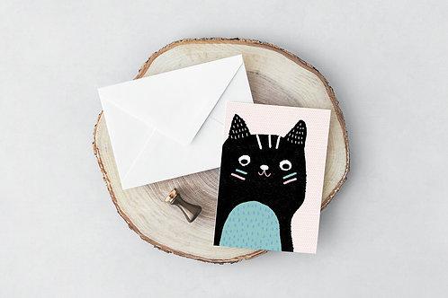 Creepo Cat Greeting Card